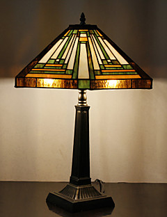 60W Traditional Tiffany Glass Light with Resin Stand