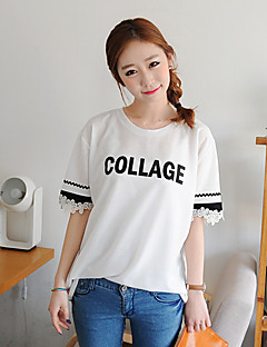 KYJ Women's Round Collar Letter Print T Shirt with Flower Cuff