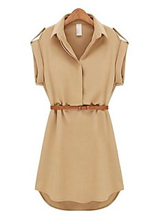 Women's Casual Solid Shirt Collar Short Sleeve Mini Belted Chiffon Dress