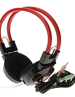 606 de 3,5 mm estéreo de alta calidad de cabeza del auricular del En-oído con el Mic para el ordenador (rojo)