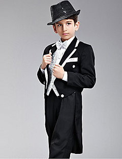 Seven Pieces Black And Silver Swallow-tail Ring Bearer Suit Med To Bow Ties