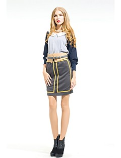 Zoely dames Sexy hoge taille Golden Stripe Bodycon rok op knielengte 101131Q056