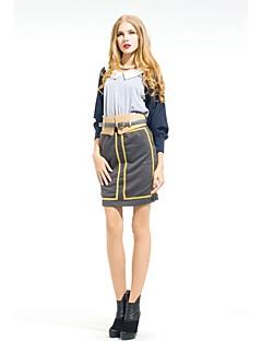 Zoely женщины сексуальное Высокая талия Золотой полосой Bodycon колен юбка 101131Q056