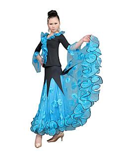 Ballroom Dance Dresses Women's Training Tulle Ruffles Fuchsia / Light Blue / Yellow Modern Dance / Ballroom / PerformanceSpring, Fall,