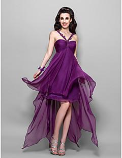라인 비대칭 쉬폰 칵테일 드레스를 스트랩