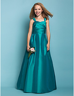 Floor-length Taffeta Junior Bridesmaid Dress - Jade A-line / Princess Straps / Square