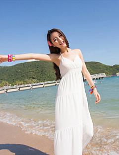 biopla böhmischen gemütliche Strand langes Kleid (weiß)