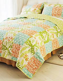 huani® Quilt-Set, 3-teilig 100% Baumwolle Landhausstil Schachbrettmuster bunten Frühlings