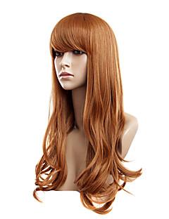 Capless långa gyllene blonda vågig syntetiska peruker