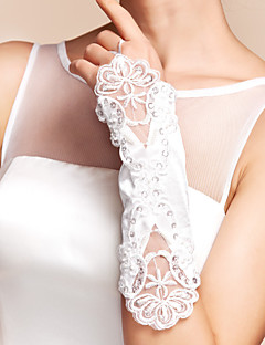 Elbow Length Fingerless Glove Satin Party/ Evening Gloves Spring / Summer / Fall / Winter Beading / Appliques