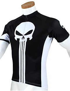 ILPALADINO Cycling Jersey Men's Short Sleeve Bike Breathable Quick Dry Ultraviolet Resistant Jersey Tops 100% Polyester SkullsSpring