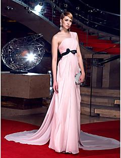 저녁 정장파티 드레스 - 블러슁 핑크 A라인 채플 트레인 원 숄더 쉬폰 플러스 사이즈