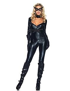 Traje de Halloween das Catwomen Preto PU couro Backless Mulheres