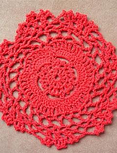 12pcs/set, Red Cotton Handmade hekladuker Coaster