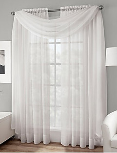 Rod pocket Voile Sheer Curtain With Scarf Valance in White (Two Panels)
