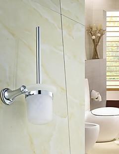 Elegant Silver Crystal Brass Toilet Brush Holder