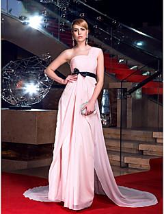 ts couture® vestido de noche formal - parte posterior atractiva / abierta / elegante más / pequeño una línea de un hombro capilla tren gasa con la