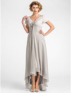 Lanting A-line Plus Sizes / Petite Mother of the Bride Dress - Silver Asymmetrical Short Sleeve Lace / Chiffon