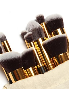 10PCS Makeup Brushes Set Pink/White/Black Powder Blush Eyeshadow Brush Gold/Silver Tube with Draw String Bag