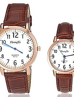 Heren Dames Voor Stel Modieus horloge Kwarts Leer Band Zwart Wit Bruin Wit Zwart Bruin Zwart