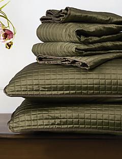 huani® quilt sæt, 3 stk plaid mørkegrøn polyester