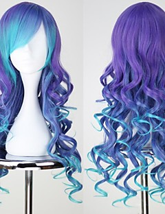 VOCALOID3 LUKA Lang Curly Blue & purple Anime Cosplay Wig