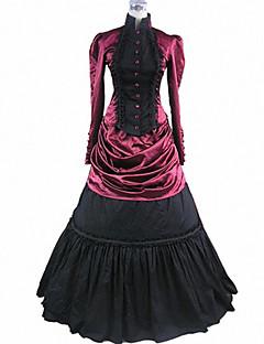 Jednodílné/Šaty Gothic Lolita Retro Cosplay Lolita šaty Retro Dlouhé rukávy Lolita Vrchní deska Spodnička Pro Bavlna Satén