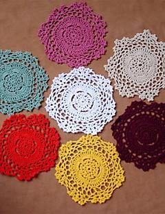 12pcs/set VTG Shabby Chic Käsintehdyt Virkattu Doilies Coaster Random Color