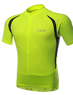 FJQXZ - Elastic Fabric Fluorescent Green Short Sleeve Cycling Jersey