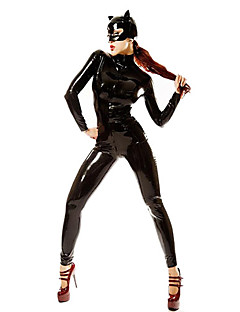 Coole Catwoman Schwarz PVC Frauen-Halloween-Party Kostüm
