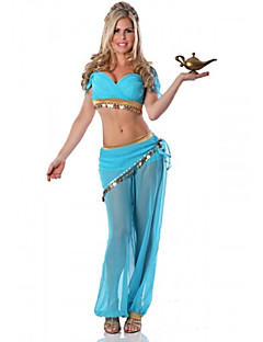 Cosplay Costumes / Party Costume Charming Arabian Princess costume Fairytale Princess Jasmine Blue Polyester Women's Halloween Costume