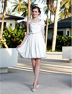 A-line/Princess Plus Sizes Wedding Dress - Ivory Knee-length One Shoulder Satin Chiffon