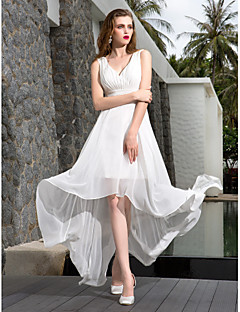 A-line Plus Sizes Wedding Dress - Ivory Asymmetrical V-neck Georgette