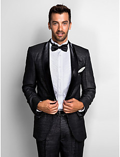 Black Polyester Standard Fit Two-Piece Tuxedo