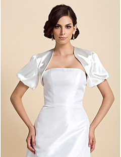 Wedding  Wraps Coats/Jackets Short Sleeve Satin As Picture Shown Wedding / Party/Evening Puff Balloon Open Front