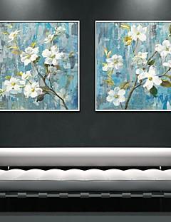 Blumenmuster/Botanisch Gerahmtes Leinenbild / Gerahmtes Set Wall Art,PVC Weiß Kein Passpartout Mit Feld Wall Art