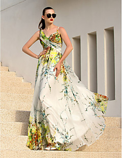 Formal Evening Dress - Print Plus Sizes A-line Straps Floor-length Chiffon