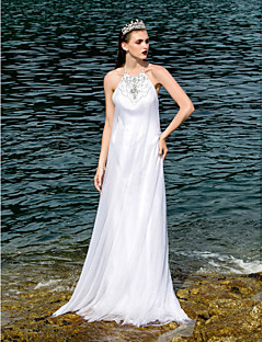 Lan Ting A-line Plus Sizes Wedding Dress - White Floor-length Halter Tulle