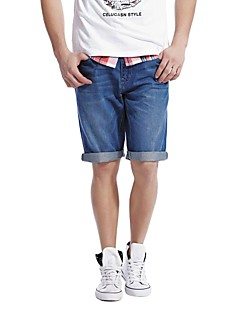 Celucasn Mænds Denim Short Thin Mid Længde Short Casual Summer Pants