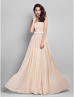 Floor-length Georgette Bridesmaid Dress - Champagne Plus Sizes/Hourglass/Pear/Misses/Petite/Apple/Inverted Triangle Sheath/Column