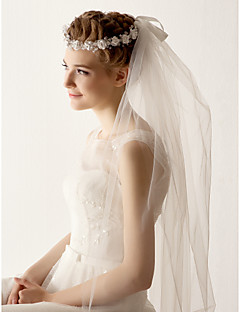 Two Tier Tulle Fingertips Wedding Veil With Flower