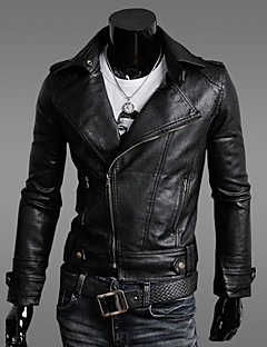 Men's Casual Slim Motorcycle PU Outerwear , Lined