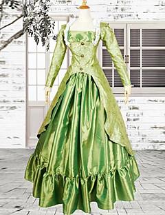 Langermet fotsid grønn sateng Jacquard viktoriansk Lolita Dress