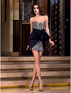 Cocktail Party / Holiday / Prom Dress - Black Plus Sizes / Petite Sheath/Column Sweetheart Short/Mini Satin