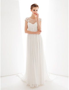 Lanting Bride Wedding Party Dress A-line Jewel Court Train Chiffon / Tulle with Appliques / Buttons / Criss Cross