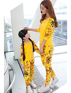 Family's Fashion Contracted Floral Long Sleeve Mother Daughter Clothing Sets