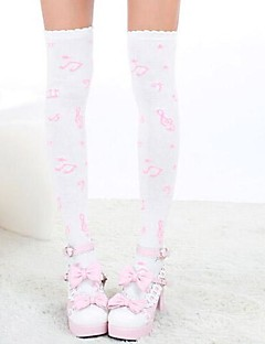 Socks/Stockings Sweet Lolita Lolita Princess White / Pink Lolita Accessories Stockings Print For Women Nylon