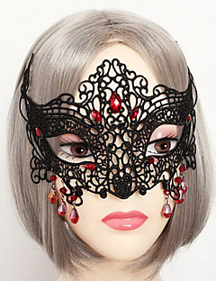 Mask Vampire Festival/Holiday Halloween Costumes Red / Black Solid / Lace Mask Halloween / Carnival Unisex Lace / Artificial Gemstones