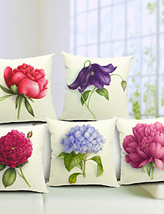 Set di 5 Summer Flowers cotone / lino Decorative copertura del cuscino