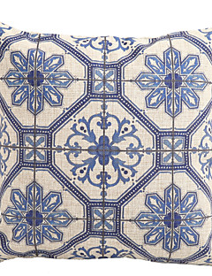 """Createforlife ® 18 """"azul e branco padrão decorativo Cotton Linen Fronha Praça capa de almofada"""